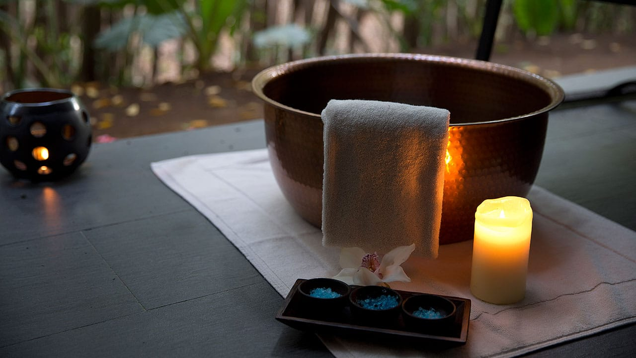 bowl with towel and candle