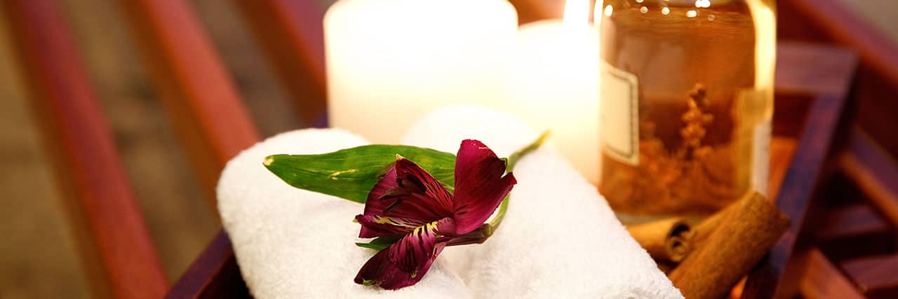 Spa Towel, Flower and Candle