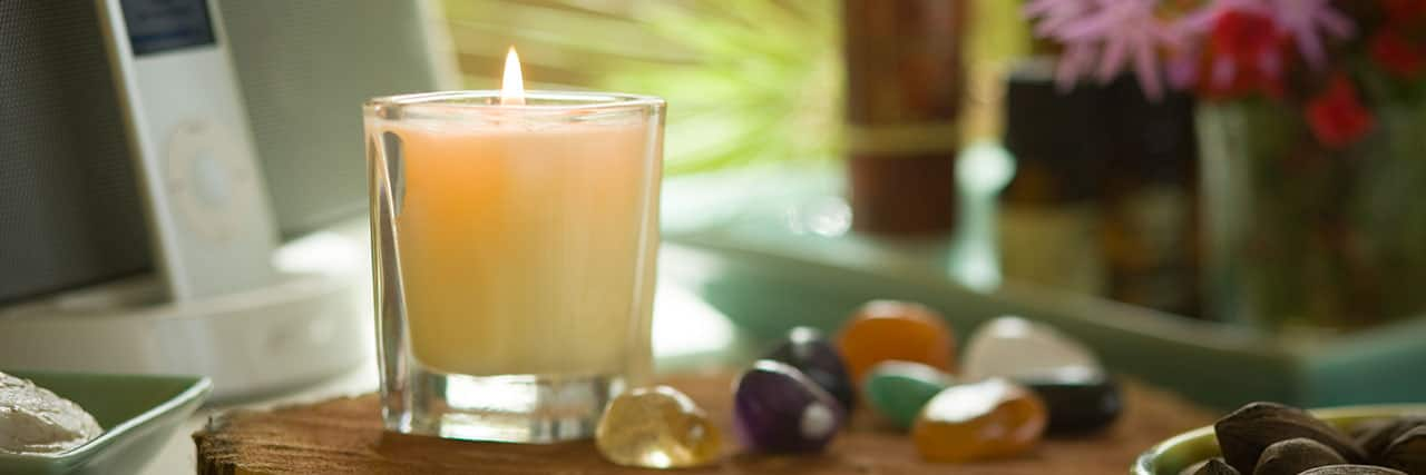 Decorative Candle and Rocks